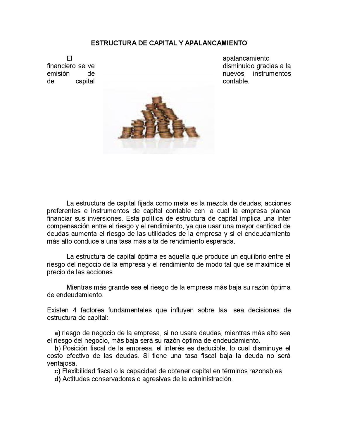Estructura De Capital Y Apalancamiento By Walter Arana Issuu