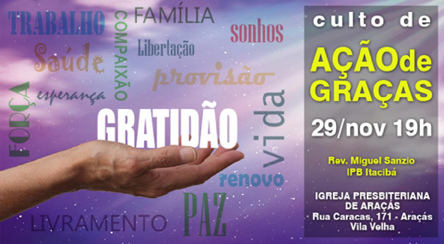 Convite Culto De Ação De Graças By Igreja Presbiteriana De