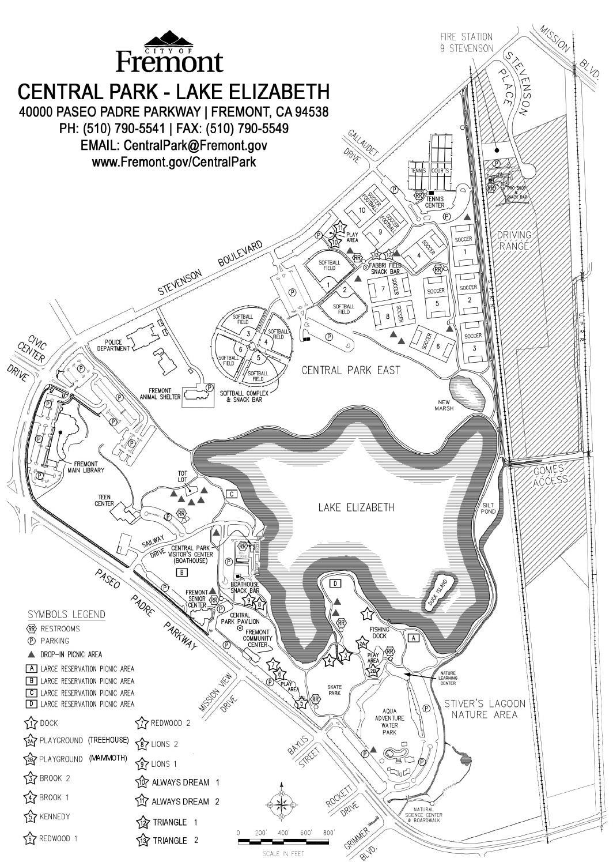 Central ParkLake Elizabeth Map by City of Fremont Recreation