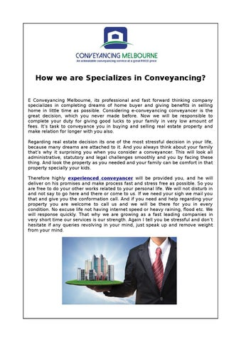 How we are specializes in conveyancing by e conveyancing how we are specializes in conveyancing e conveyancing melbourne its professional and fast forward thinking company specializes in completing dreams of solutioingenieria Image collections