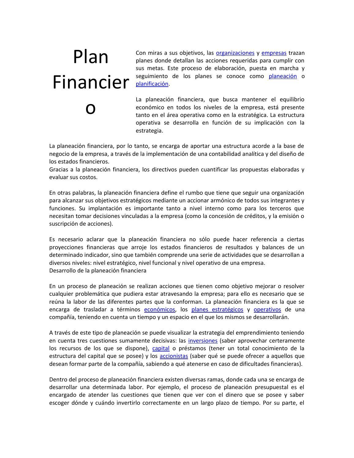 Plan Financiero By Yenifer Issuu