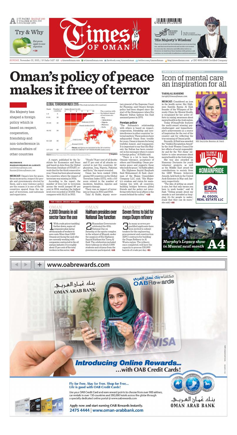 Times of Oman - November 22, 2015 by Muscat Media Group - issuu