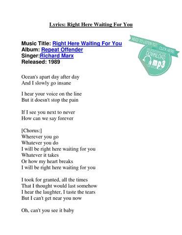 Right here waiting for you lyrics by Jafar Sadique - issuu