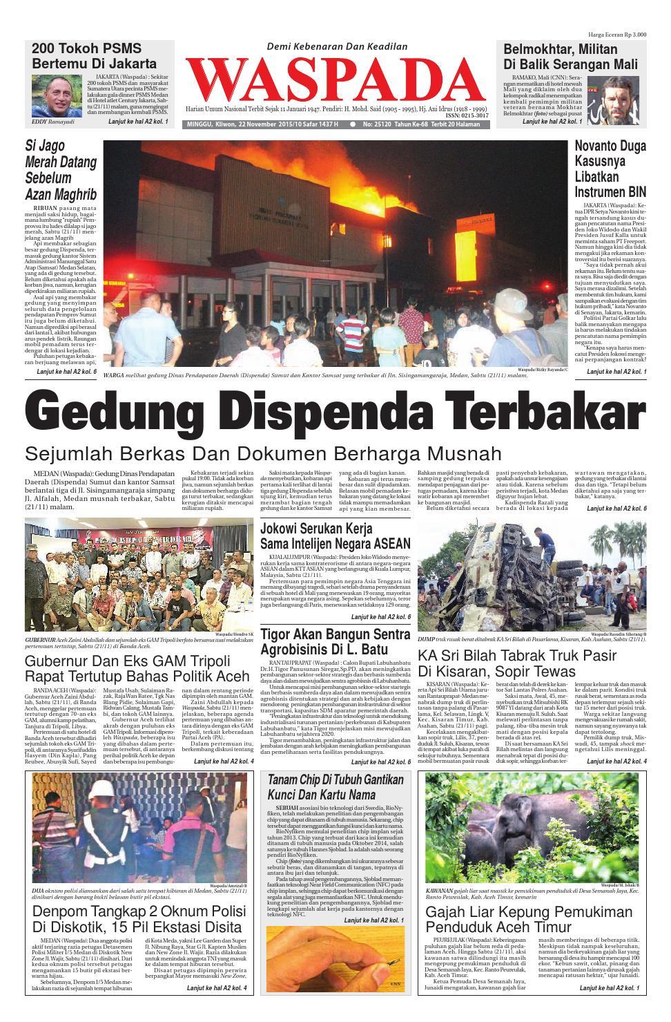 Waspada Minggu 22 November 2015 By Harian Waspada Issuu