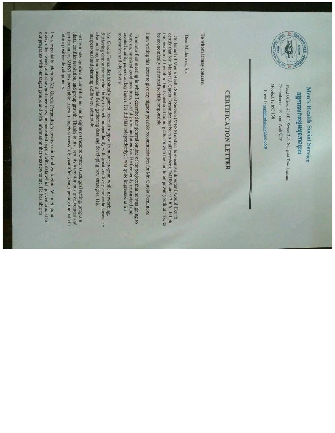 Letter Of Recommendation Mhss Org Cambodia By Manuel J Garcia Issuu