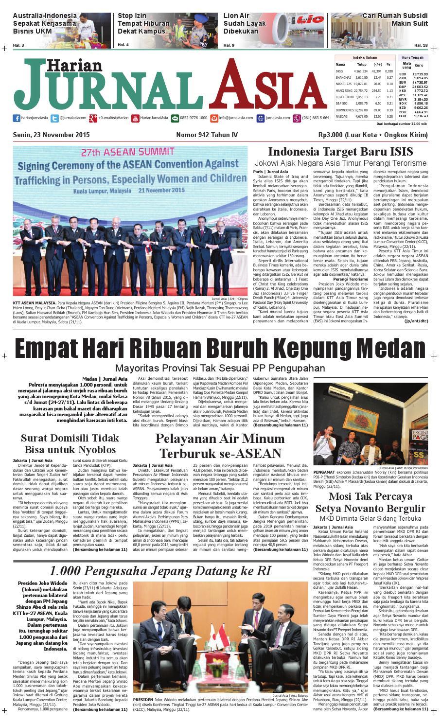 Harian Jurnal Asia Edisi Senin 23 November 2015 By Produk Ukm Bumn Tenun Pagatan Kemeja Pria Biru Kapal Medan Issuu