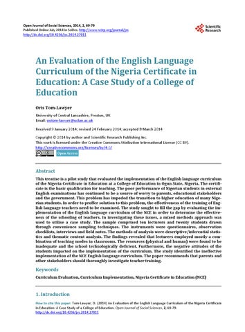 An Evaluation Of The English Language Curriculum Of The