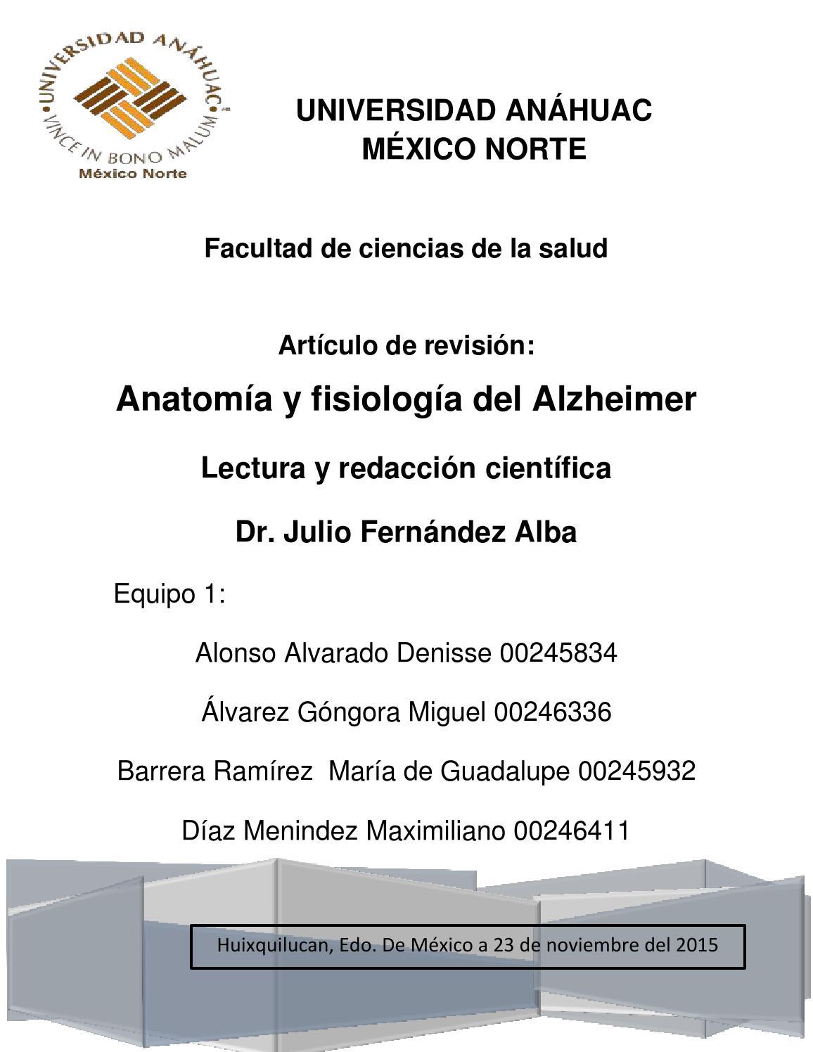 Equipo 1_Anatomía y fisiología del Alzheimer by Denisse Alonso - issuu