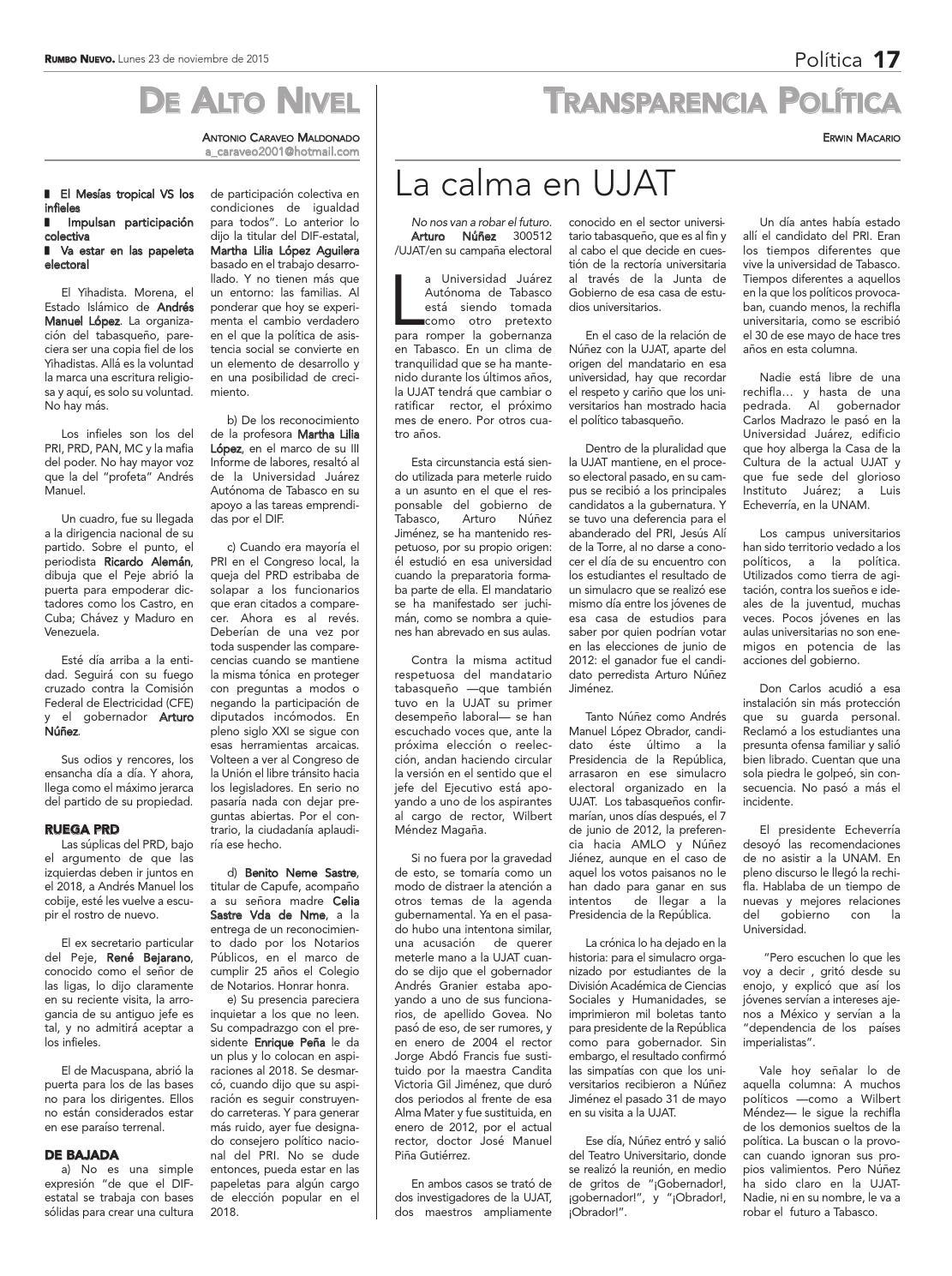 Rumbo Nuevo. Lunes 23 de noviembre de 2015 by Grupo Rumbo Nuevo - issuu