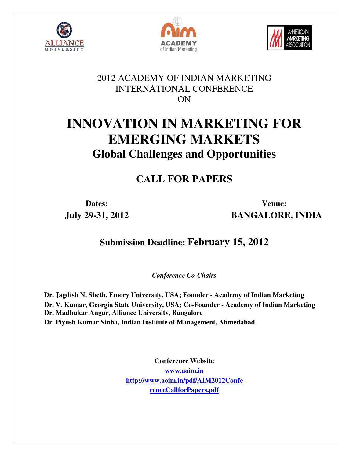 "INNOVATION IN MARKETING FOR EMERGING MARKETS"": Dr Madhukar"