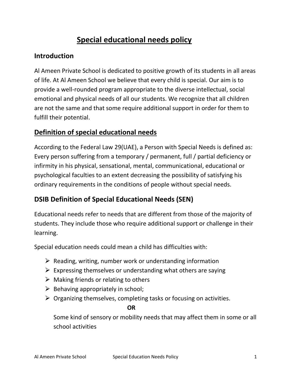 special educational needs policy by al ameen school - issuu