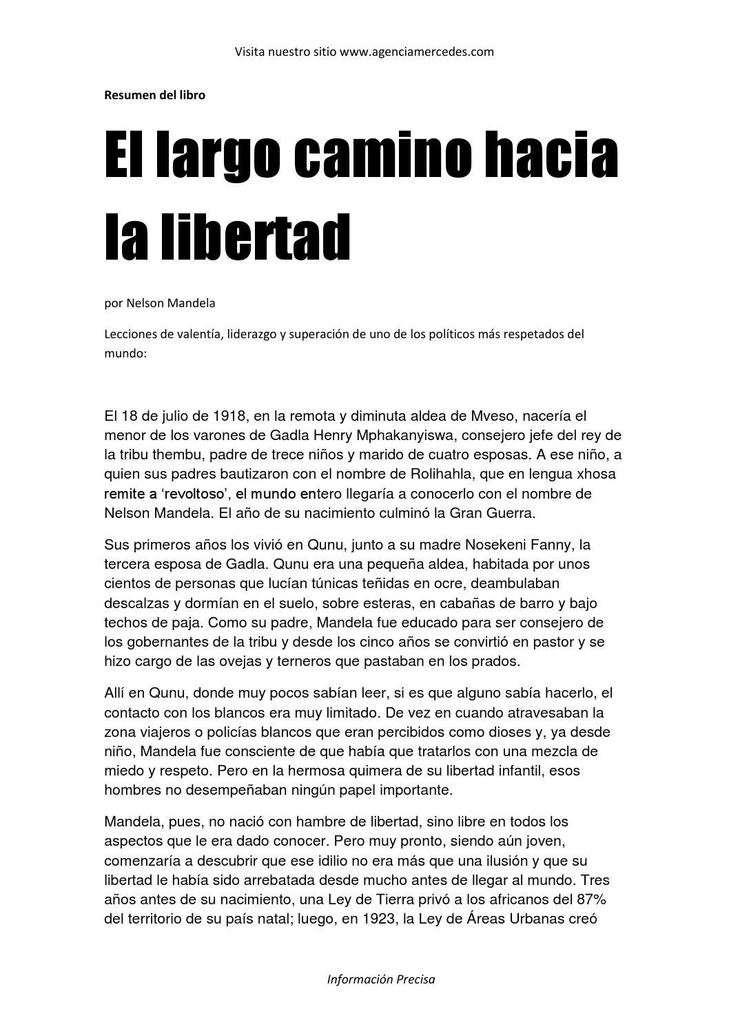 El largo camino hacia la libertad resumen by Héctor González - issuu