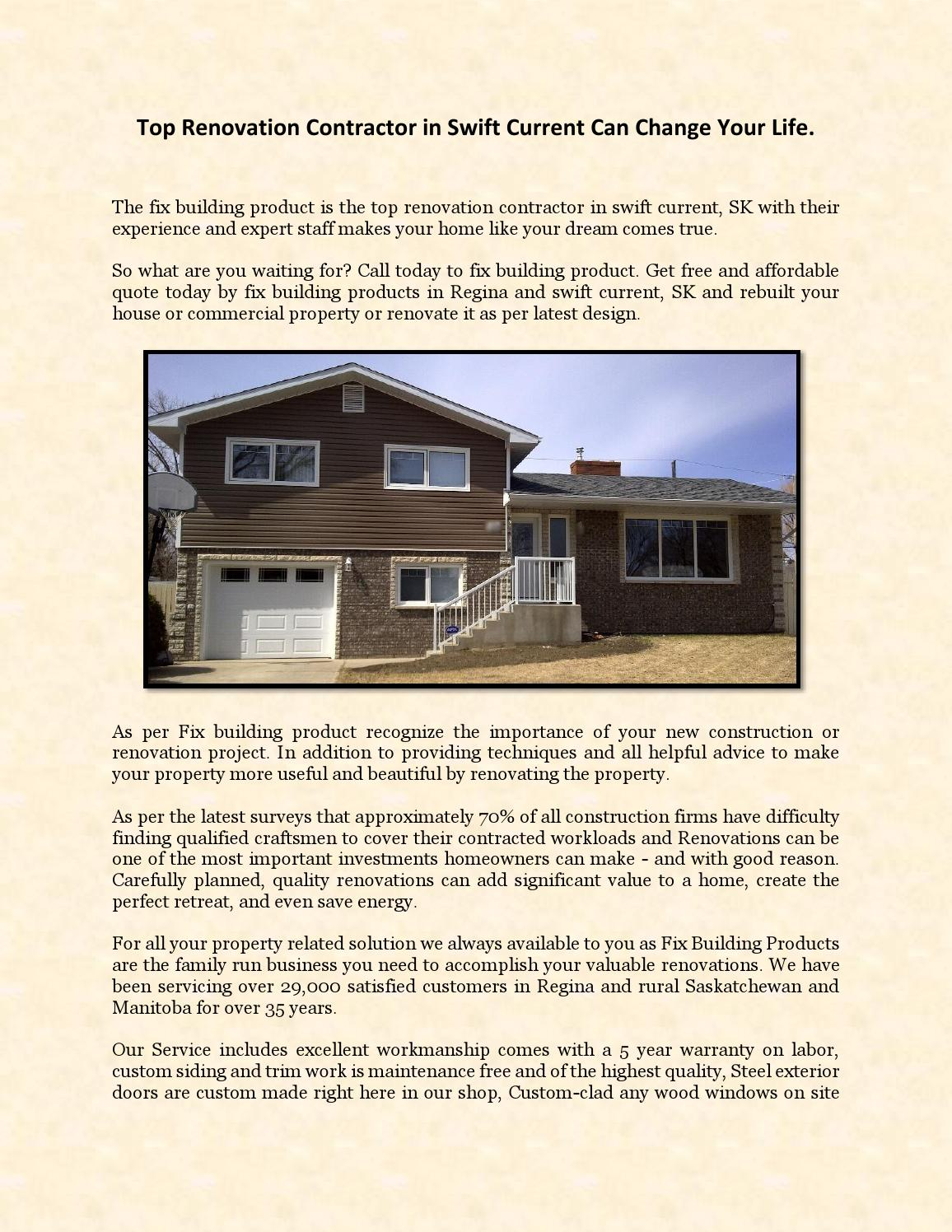Top Renovation Contractor In Swift Current Can Change Your Life By  Fixbuildingproducts   Issuu