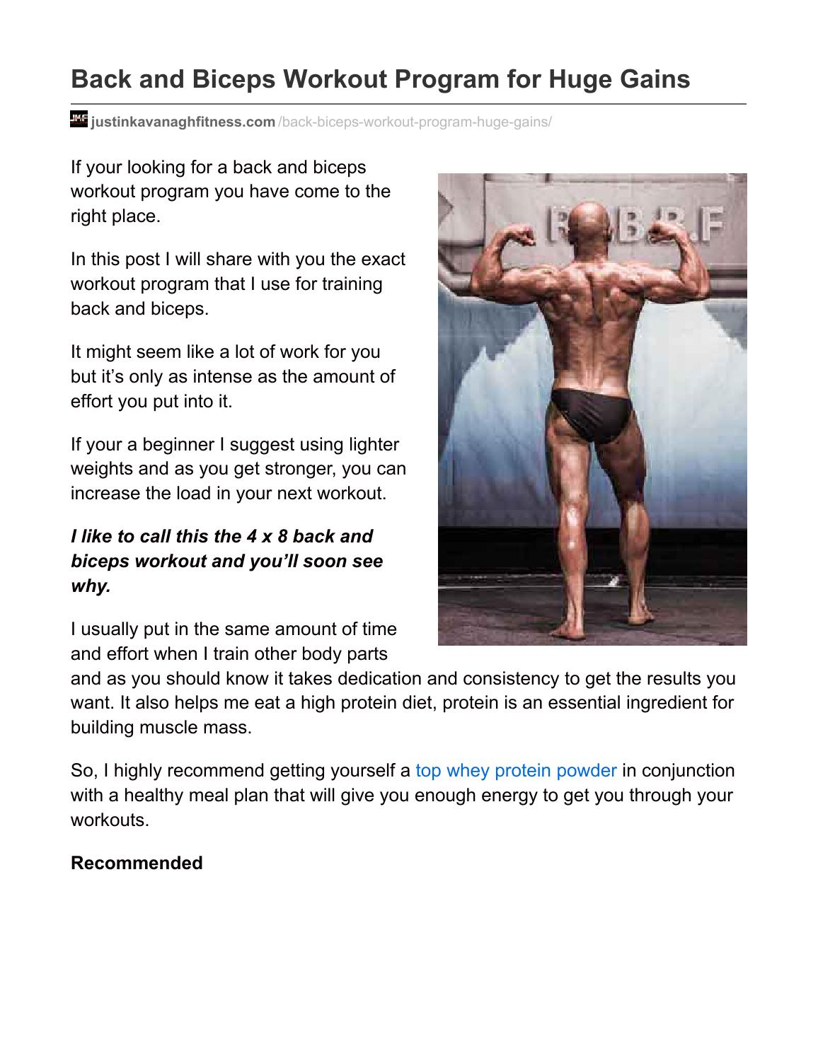 Back and biceps workout program for huge gains by Justin