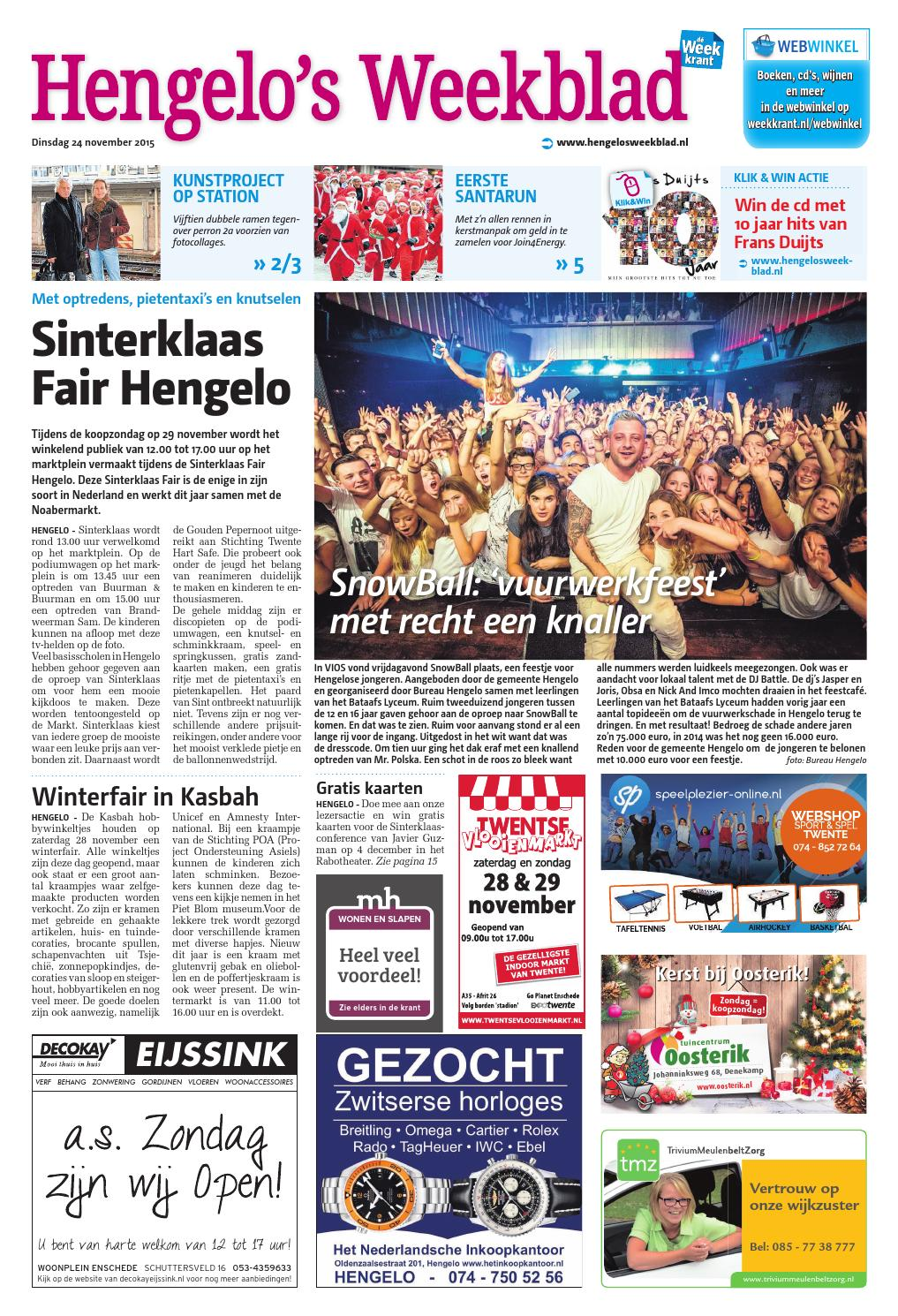 Hengelo s weekblad week48 by wegener issuu for Koopzondag hengelo