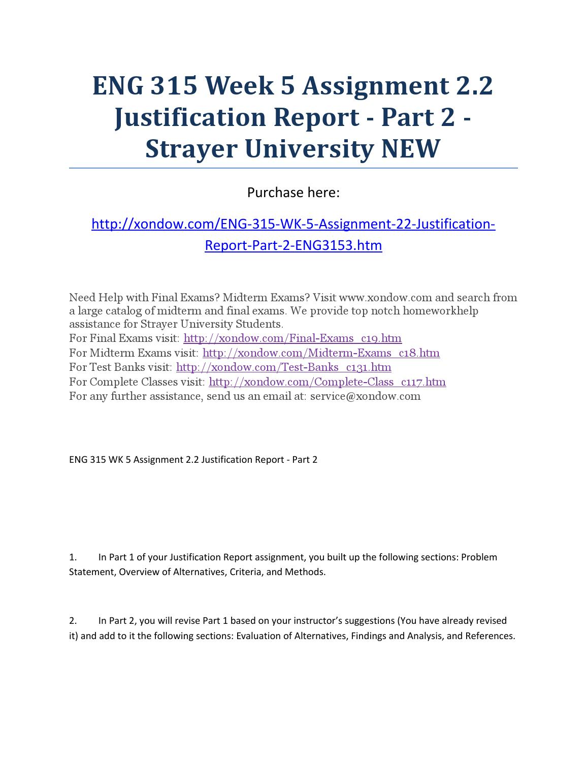 justification report part 1 View essay - assignment 21 justification report - part 1 from eng 315 at strayer running head: assignment 21: justification report part 1 assignment 21.
