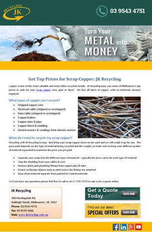 Get Top Prices for Scrap Copper: JK Recycling by JKRecycling