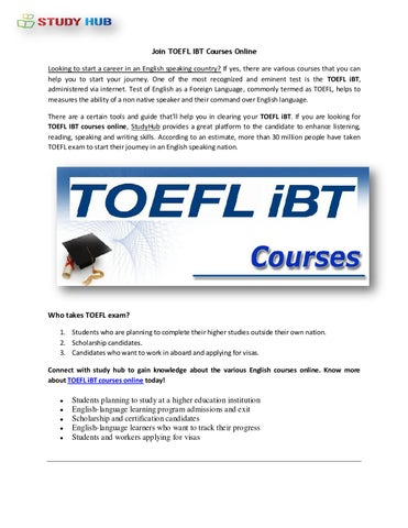 Join Toefl IBT Courses Online by Studyhub - issuu