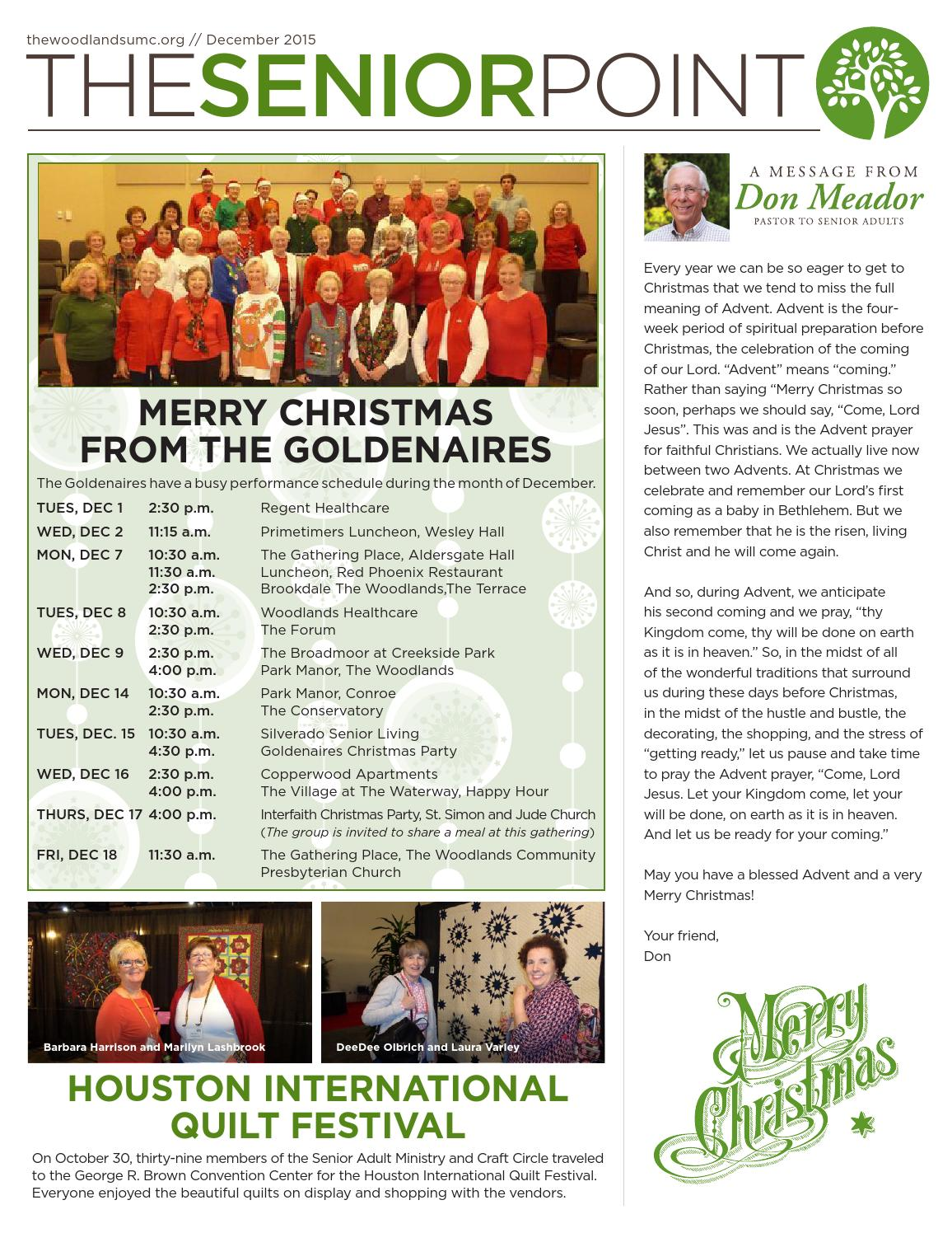 The Senior Point December 2015 By The Woodlands Umc Issuu