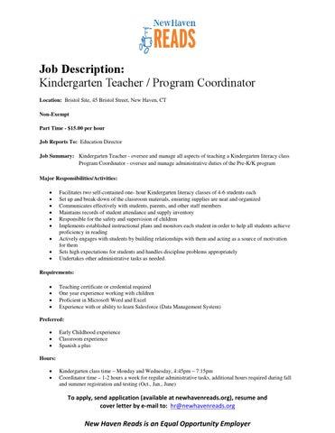 job description kindergarten teacher program coordinator location bristol site 45 bristol street new haven ct non exempt part time 1500 per hour