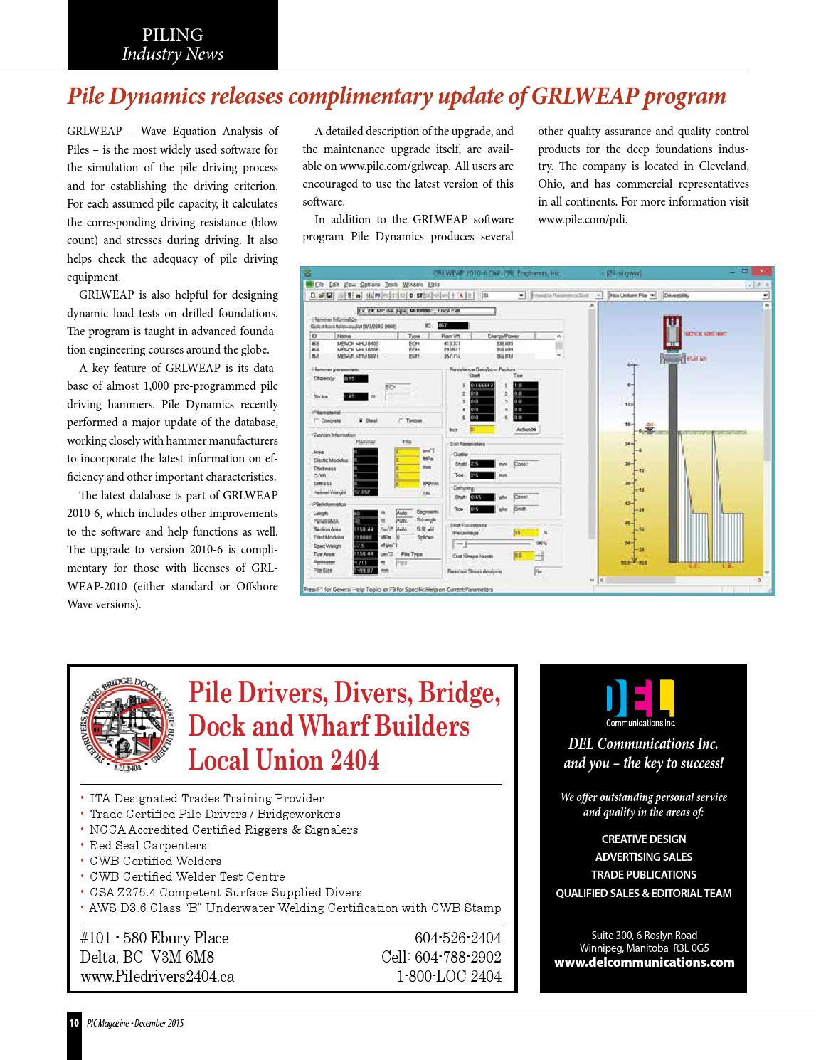 Piling Industry Canada Issue #2 2015 by DEL Communications