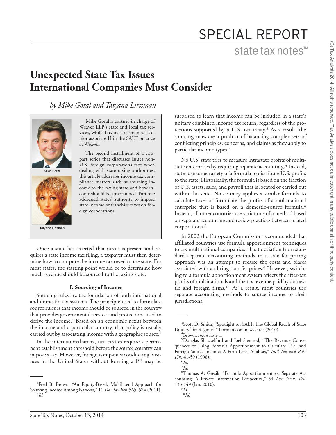 Unexpected state tax issues international companies must consider unexpected state tax issues international companies must consider by weaver issuu sciox Choice Image
