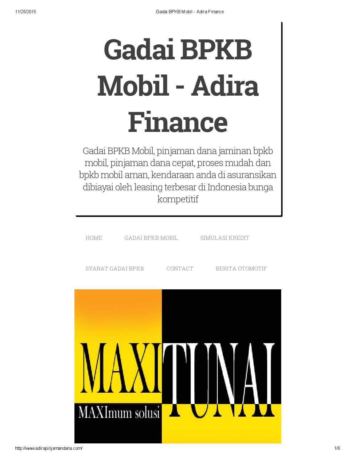 Gadai bpkb mobil adira finance by Admin - Issuu