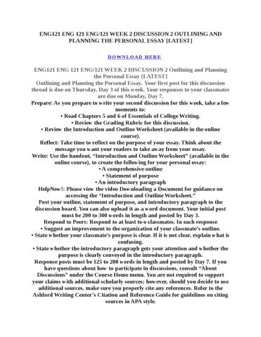 eng 121 week 2 discussion 1