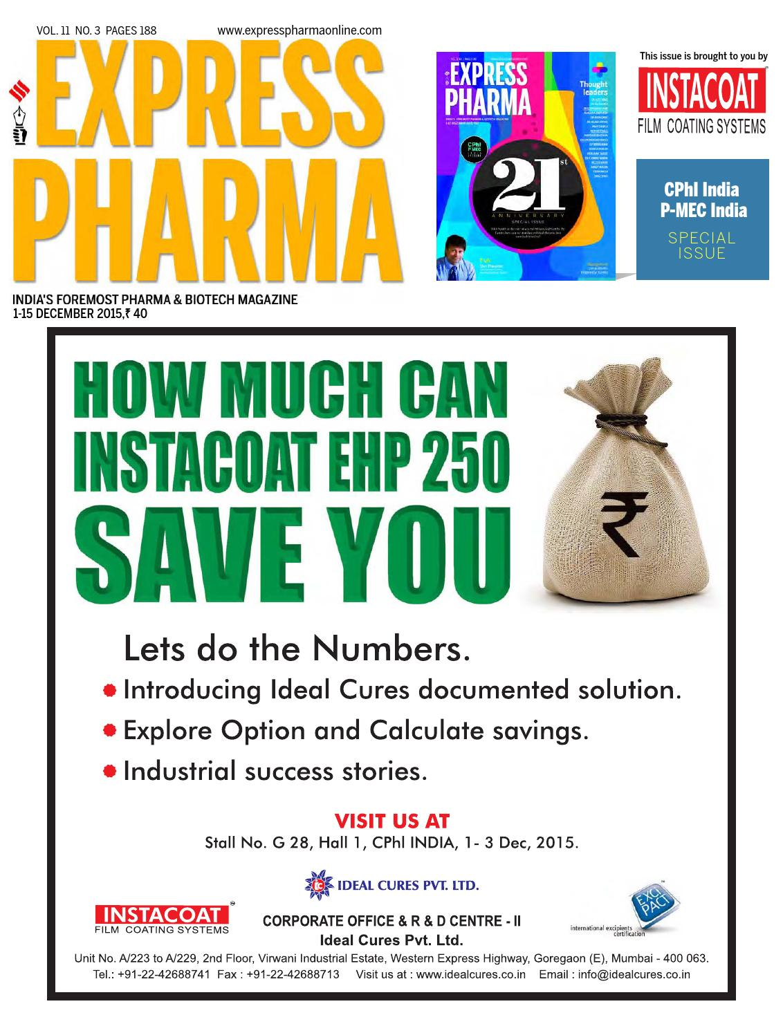 Express Pharma (Vol 11, No 3) December 1-15, 2015 by Indian