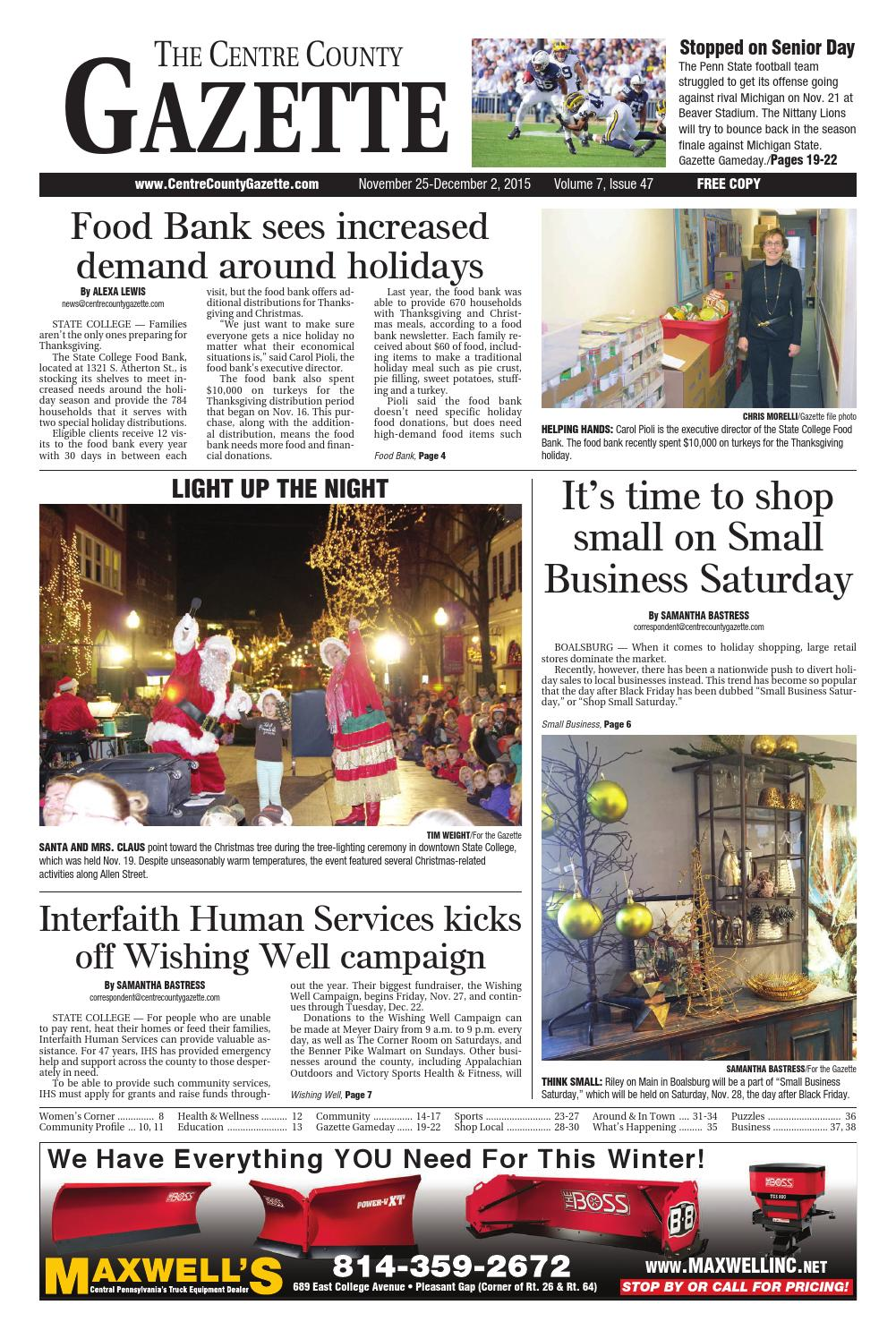 brand new 5dd46 6947d 11 25 15 centre county gazette by Indiana Printing   Publishing - issuu