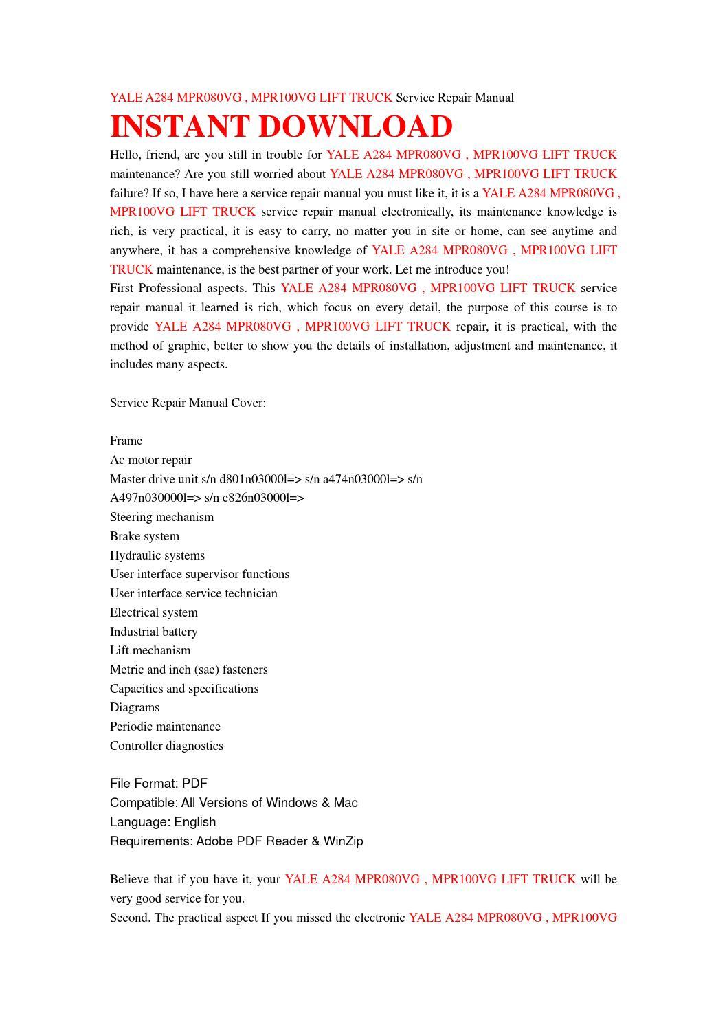 Yale A284 Mpr080vg Mpr100vg Lift Truck Service Repair Manual By Wiring Diagram Jhsnefjnse Issuu