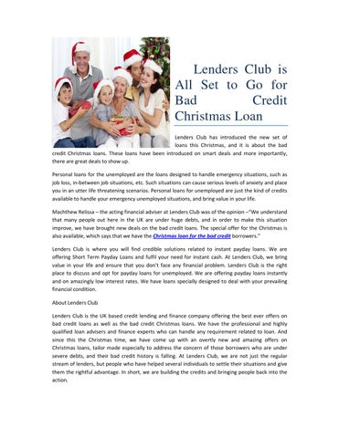 lenders club is all set to go for bad credit christmas loan lenders club has introduced the new set of loans this christmas and it is about the bad credit - Christmas Loans For Bad Credit