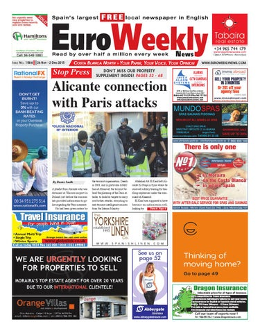 Euro Weekly News - Costa Blanca North 26 November - 2 December 2015 Issue  1586