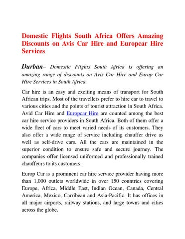 Domestic Flights South Africa Offers Amazing Discounts On Avis Car