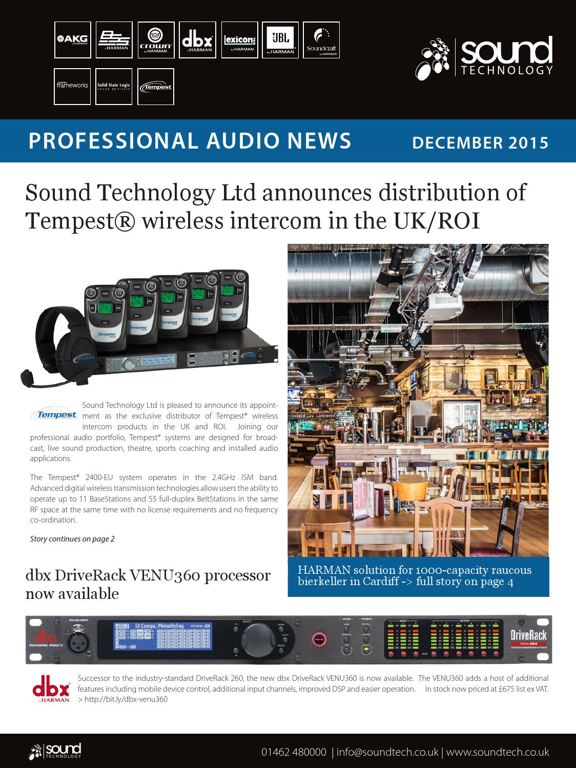 sound technology ltd professional audio newsletter