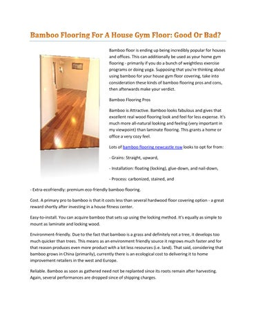 Bamboo Flooring For A House Gym Floor Good Or Bad By