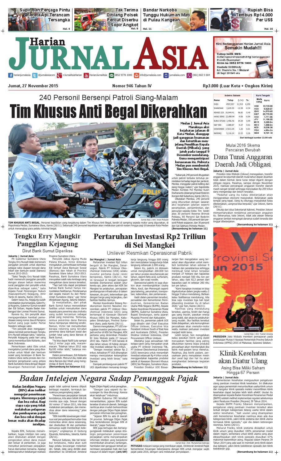 Harian Jurnal Asia Edisi Jumat 27 November 2015 By Kopi Robusta Yoen Iskan Akumandiri Medan Issuu