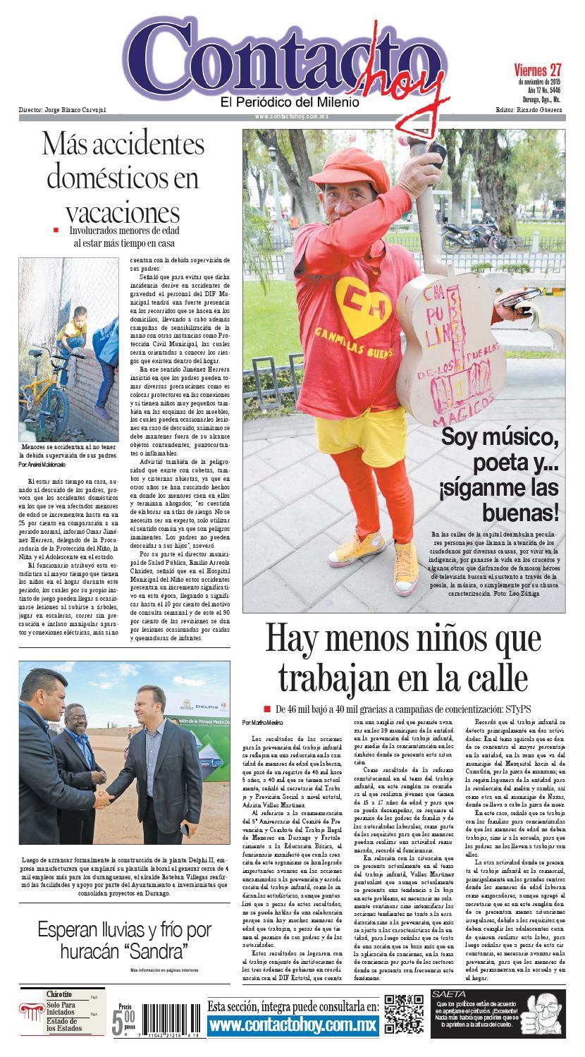 Periódico Contacto hoy del 27 de noviembre del 2015 by Contacto hoy ...