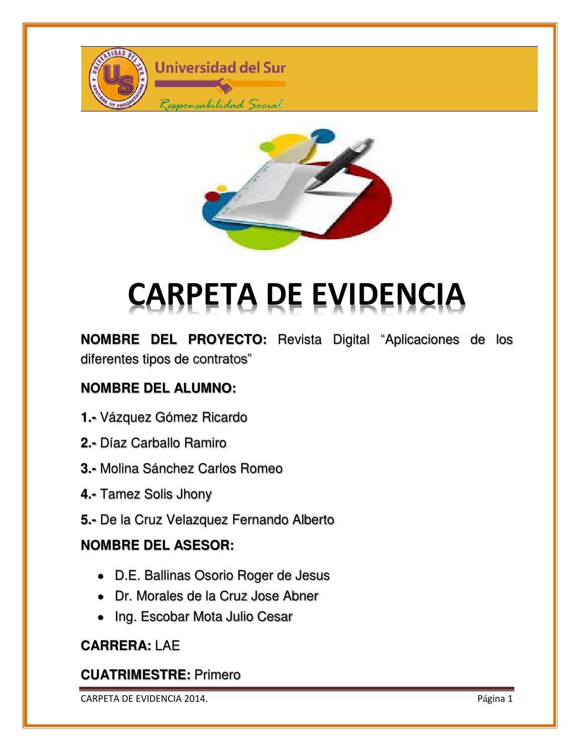 Carpeta de evidencia formato by Ricardo Vazquez Gomez - issuu