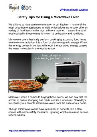 Page 1 Whirlpool India W Safety Tips For Using A Microwave Oven