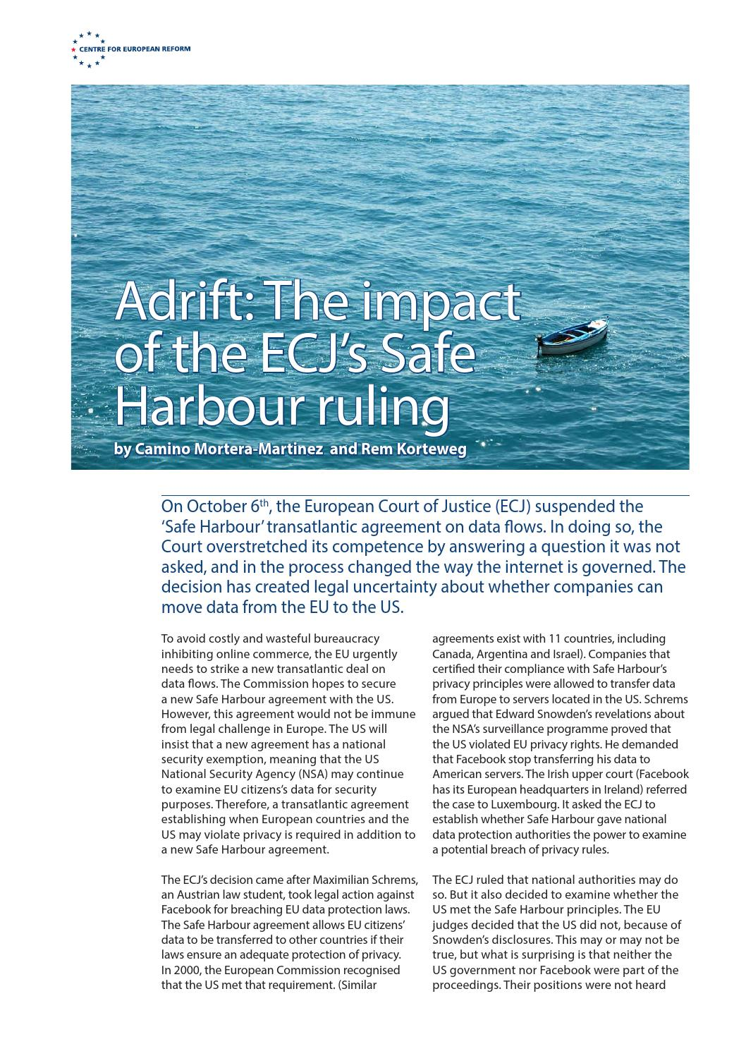 Adrift The Impact Of The Ecjs Safe Harbour Ruling By Centre For