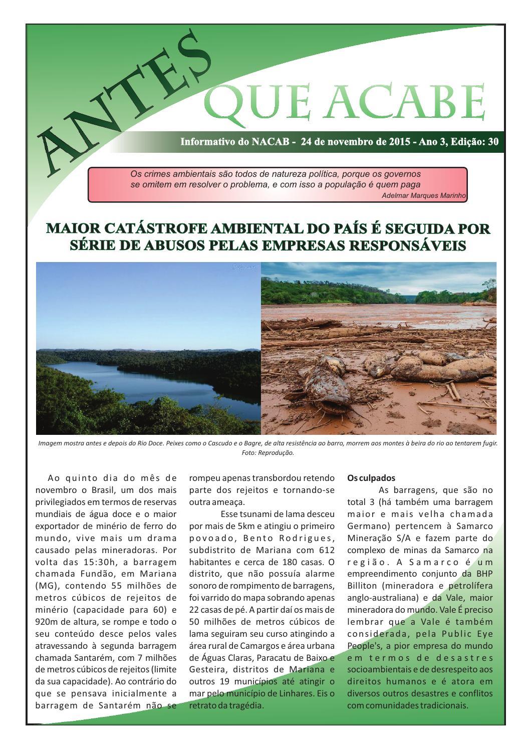 Informativo Antes Que Acabe - Ano 3 - Edição 30 by NACAB - issuu