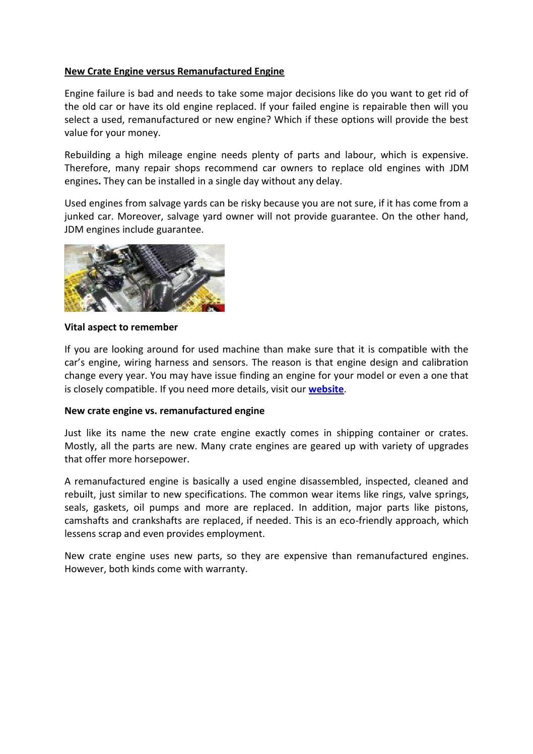 New Crate Engine Versus Remanufactured By Scarlet Vapor Issuu S Wiring Harness