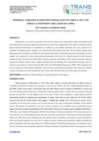 3d1e34cce5 5 environment ijeefus temporal variation in groundwater quality of ambala  city and ambala