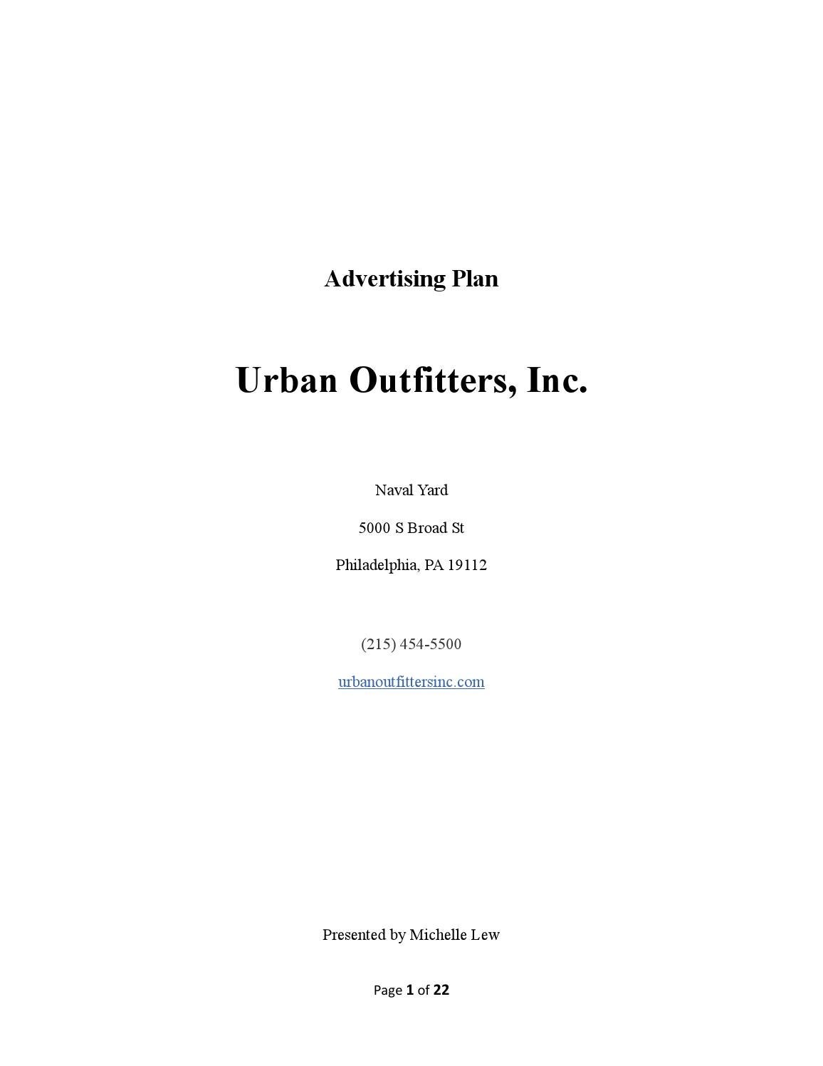 urban outfitters advertising plan by michelle lew issuu – Urban Outfitters Business Plan