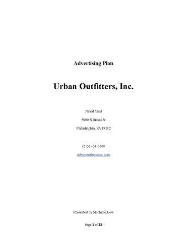Urban Outfitters Advertising Plan By Michelle Lew - Issuu