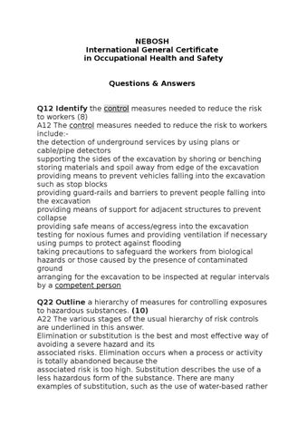 NEBOSH International General Certificate In Occupational Health And Safety Questions Answers Q12 Identify The Control Measures Needed To Reduce Risk