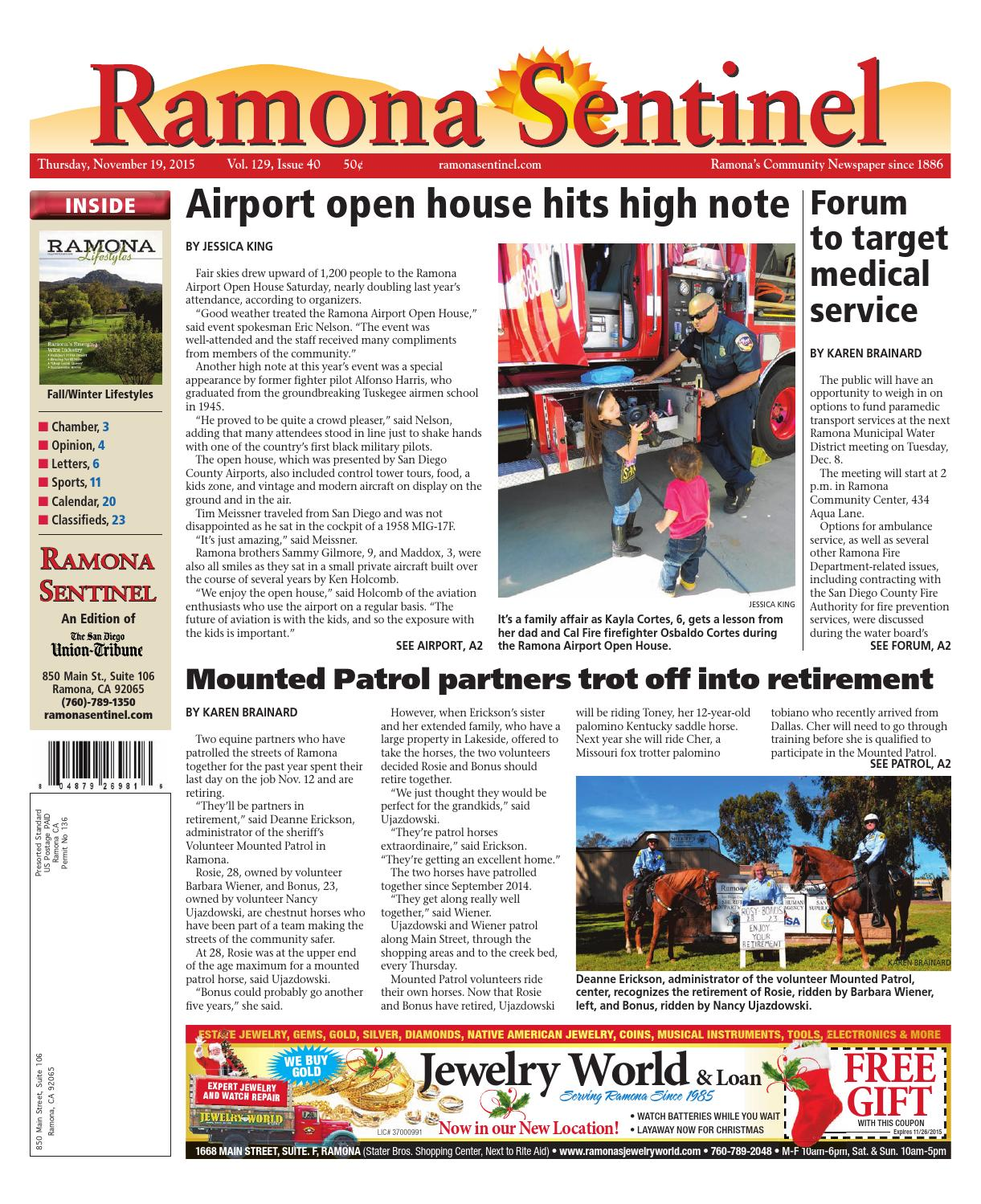Ramona Sentinel 11.19.15 by MainStreet Media - issuu
