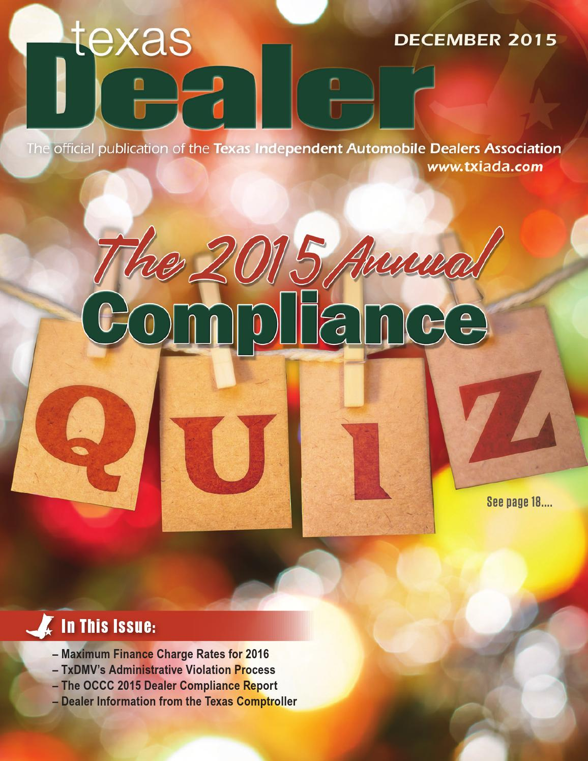 texas dealer december 2015 by texas independent auto dealers texas dealer december 2015 by texas independent auto dealers association issuu