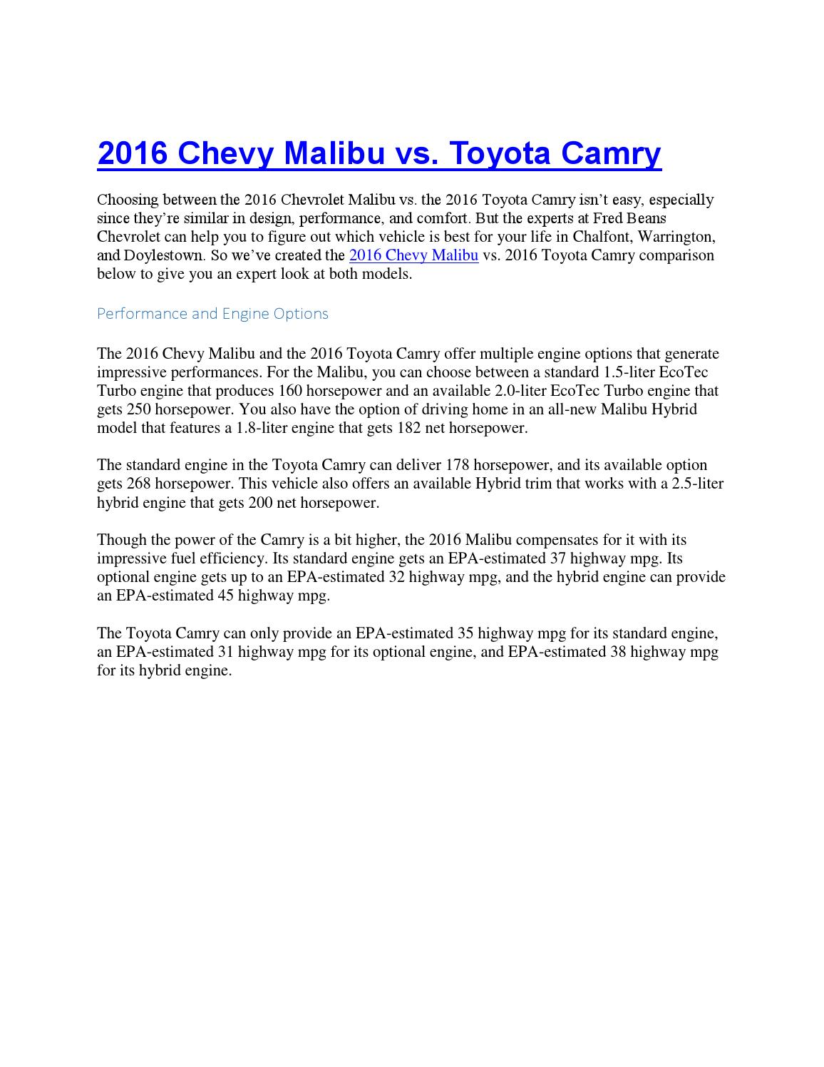 Fred Beans Chevy >> 2016 Chevy Malibu Vs Toyota Camry Fred Beans Chevy By
